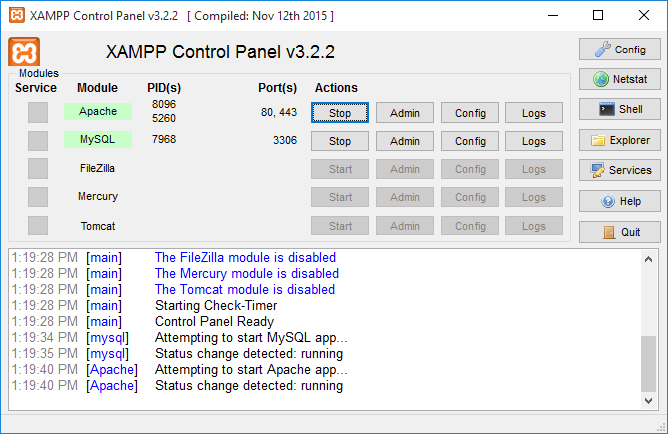 You have no idea how happy I am to see both Apache and MySQL working, or maybe you do!