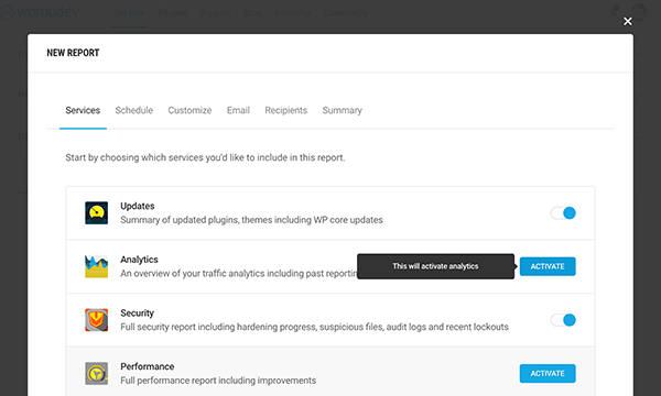 Activate white label analytics from in the Hub