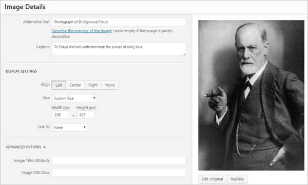 Screenshot of Image Details screen with alternative text describing a photograph of Dr. Sigmund Freud.