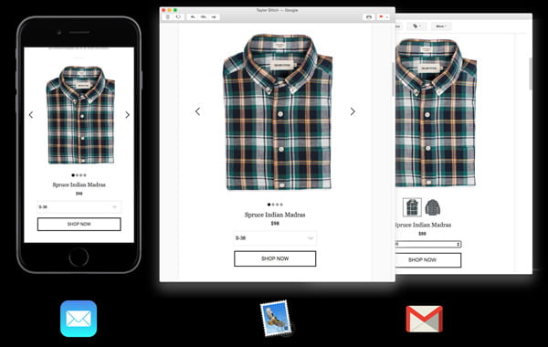 Interactive emails with checkout feature directly in the inbox