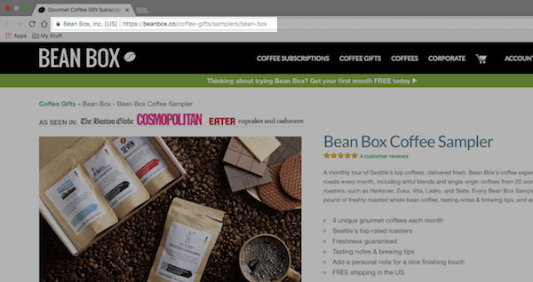 Bean Box eCommerce Product Page