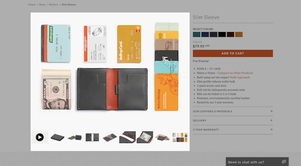 Bellroy eCommerce Product Page