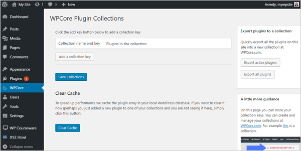 WPCore Plugin Collections screen.