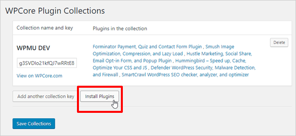 WPCore Plugins Collections screen with Install Plugins button highlighted.