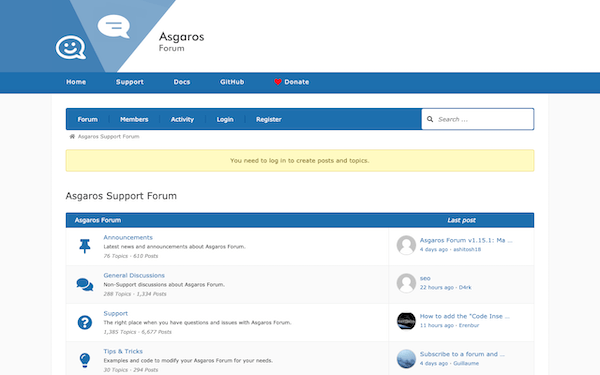 An example of a forum made by Asgaros