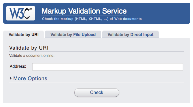 Check that the markup on our site is valid with W3C's free service.