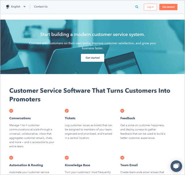 HubSpot home page screen.