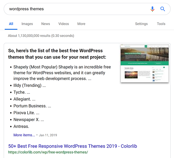 Screenshot of Google search for WordPress themes that shows rich snippet