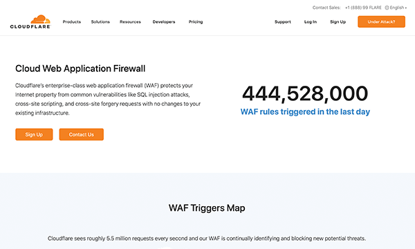 Cloudflare WAF service landing page
