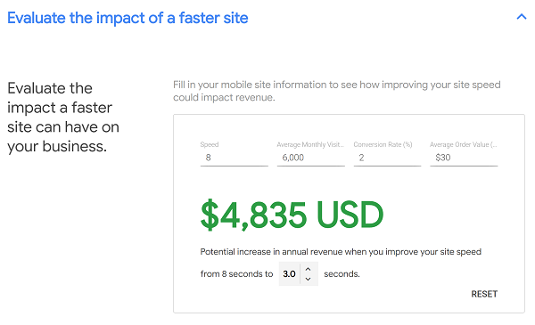 Screenshot of revenue calculator that shows how much you can earn by improving site speed