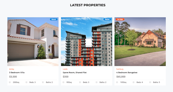 An example of what the property listings looks like