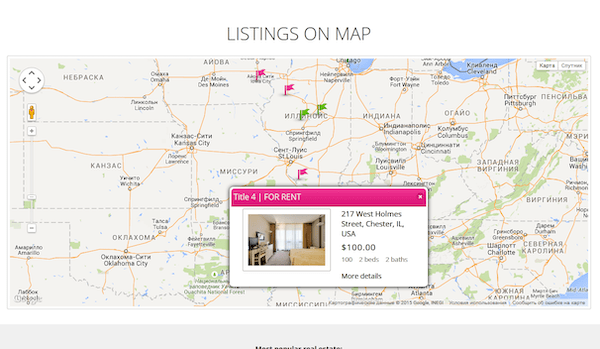 an example of displaying the listings on a map